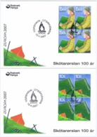 Faroe Islands; 2007.  Europa - CEPT;  Scouting 100 Years. Set Of 2 In Block Of 4 On FDC. - Féroé (Iles)