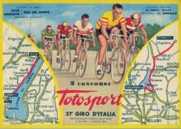 ITALIA 1954 , 37º GIRO DE ITALIA , TARJETA POSTAL CONMEMORATIVA , 2º CONCURSO TOTOSPORT. CYCLING , VÉLO , CICLISMO - Ciclismo
