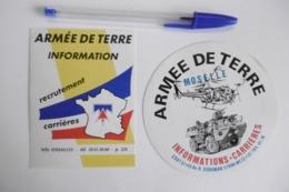 Autocollant Stickers - ARMÉE DE TERRE MOSELLE Informations Recrutement Carrières - Lot De 2 Autocollants - Adesivi