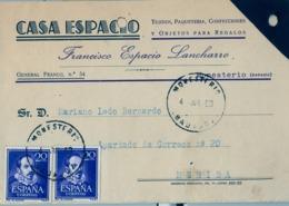 1953 , BADAJOZ , TARJETA POSTAL COMERCIAL CIRCULADA , MONESTERIO - MÉRIDA - 1931-Hoy: 2ª República - ... Juan Carlos I