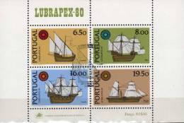 LUBRAPEX 1980 Schiffe Portugal Block 31 O 9€ Karavelle Galeone Segler S/s Philatelic Bloc Ship Expo Sheet Bf Europa - 1910 - ... Repubblica