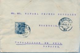 1951 , CEUTA , SOBRE CIRCULADO , CEUTA - NAVALVILLAR DE PELA , LLEGADA A VILLANUEVA DE LA SERENA , ECONOMATO MILITAR - 1931-Hoy: 2ª República - ... Juan Carlos I