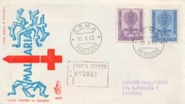 Italia Italy 1962 FDC VENETIA Registered Posted Cover Fight Against Malaria Busta Raccomandata Lotta Contro La Malaria - Malattie
