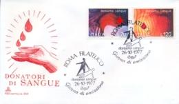 Italia Italy 1977 FDC CAVALLINO Blood Donation Campaign Campagna Per La Donazione Del Sangue - Medicine