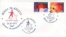 Italia Italy 1977 FDC POSTE ITALIANE Blood Donation Campaign Campagna Per La Donazione Del Sangue - Medicine