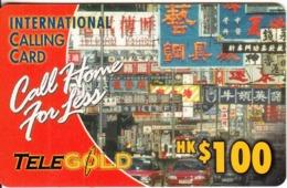 HONG KONG - TeleGold Prepaid Card $100(thick Plastic), Used - Hongkong
