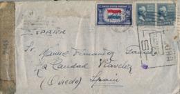 1945 , ESTADOS UNIDOS , HOBOKEN - LA CARIDAD ( ASTURIAS ) , CENSURADO , AL DORSO TRÁNSITOS DE BILBAO Y MADRID. - Vereinigte Staaten