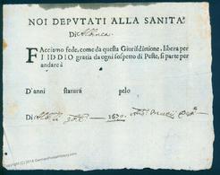 Italy 1679 Albinea Cholera Pest Plague Free Health Passport Document 92030 - Francobolli