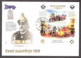 100th Anniversary Of Estonian Firefighting 2019 Estonia Sheet FDC  Mi BL 48 - Firemen