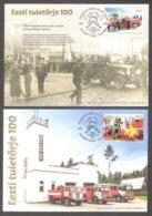 100th Anniversary Of Estonian Firefighting 2019 Estonia Sheet Stamps 2 Maxicards Mi BL 48 (964-65) - Firemen