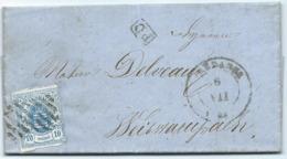Brief - Mi 6 - Redange 6 VII 1861 (rechteckig Balken) über Diekirch Nach Weiswampach - 1859-1880 Armoiries