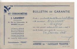 Vieux Papiers.Document Commercial.1951.Bulletin Garantie.Lambert.au Chronomètre - Frankreich
