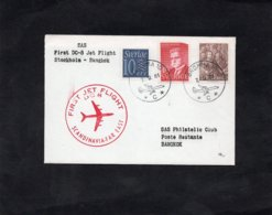 LSC 1961 - FIRST JET FLIGHT  DC8 - Scandinavia Far East - Cachet BROMMA Sur Timbres - Au Dos Cachet BANGKOK - Briefe U. Dokumente