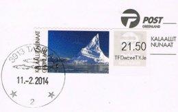 2014 - GROENLANDIA / GREENLAND - ETICHETTA - PICCO / PEAK - ATM FRAMA - LABEL - BISON - USATO / USED. - Distributori