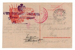 1915 SERBIA, NEGOTIN TO NIS, CENSORED IN RED, MILITARY MAIL, PREPRINTED: GREETINGS FROM FRONT LINE, - Serbia