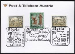 Austria Graz 1998 / STYRIA '98, WIPA 2000, Tag Der UNO / Philatelic Exhibition / Cachet / Cancel No. 4 - Briefmarkenausstellungen