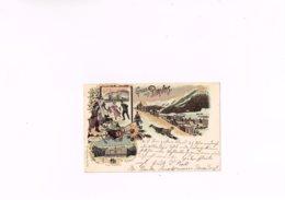 Gruss Aus Davos Carl Künzli Zurich Dép 857,carte Postale Anc 1900-1910, Sports D'hiver. - GR Grisons