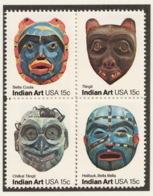United States 1980 Mi# 1441-44** AMERICAN FOLK ART, PACIFIC NORTHWEST INDIAN MASKS - United States