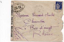 LSC 1939 - CENSURE - CONTROLE POSTAL - Ouvert  Par L'Autorité Militaire NA 192 - Au Dos Cachet LE BOIS D'OINGT (Rhone) - Germany