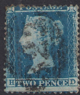 GB 1854 – 57 QV 2d Blue ( H & D ) Victoria Perfs 14 L / Crown Used SG 34 ( M1262 ) - 1840-1901 (Victoria)