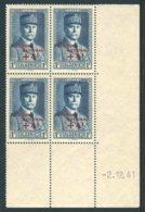 """Bloc De 4 Timbres** De 1942  """"1 F - Effigie Du Maréchal Pétain Surchagé SECOURS NATIONAL + 4 F""""  Avec Date  2.12.41 - Algérie (1924-1962)"""
