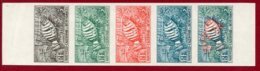 New Caledonia 1959 #308, Color Proof Stripe Of 5, Liennardella Fasciata, Fish - Neukaledonien