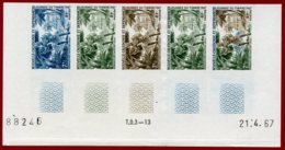 New Caledonia 1967 #356, Color Proof Stripe Of 5, 19th Century Mailman, Stamp Day - Neukaledonien