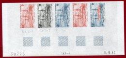 New Caledonia 1982 #477, Color Proof Stripe Of 5 (1), Naval Dispatch Vessel, Ship - Nouvelle-Calédonie