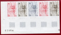 New Caledonia 1981 #467, Color Proof Stripe Of 5, Aviso Le Phoque, Ship - Nouvelle-Calédonie