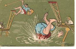 Ch BEAUVAIS Illustrateur LES SPORTS LES JOUTES Humour Natation Pêcheur - Autres