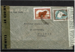 LCTN57/5 -  ARGENTINE LETTRE AVION POUR MADRID AVRIL 1944 CENSUREE - Posta Aerea