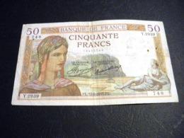 """FRANCE 50 Francs 12/09/1935 """"ceres"""", Pick N° 81  ,fayette N°17 (16), FRANCIA ,FRANKREICH , - 1871-1952 Anciens Francs Circulés Au XXème"""