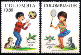 222  Chats - Cats - Chiens - Dogs - Colombia  Yv 878-79 - No Gum - Free Shipping - 1,50 - Chats Domestiques