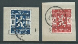 Czechoslovakia 1918 Scout Mail Officials Set Of 2 VFU On Piece Signed Gilbert - Czechoslovakia