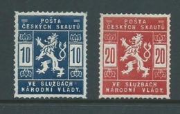 Czechoslovakia 1918 Scout Mail Officials Set Of 2 Fine MVLH - Tchécoslovaquie