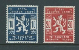 Czechoslovakia 1918 Scout Mail Officials Set Of 2 Fine MVLH - Czechoslovakia