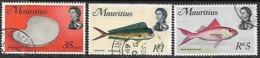 Mauritius  1969  Sc#348, 353 & 355    Better Marinelife  Used To 5r  2016 Scott Value $9.50  WMK 314 Upright - Mauricio (1968-...)