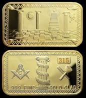 1 Lingot Plaqué OR ( GOLD Plated Bar ) - Franc-maçon Freemason Masonic - Autres Monnaies
