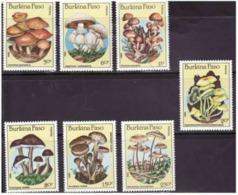 Burkina Faso 1985 MNH Full Set Mushrooms Scott 743-749 - Mushrooms