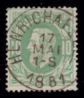 """COB N° 30 -  Obl. """"CONCOURS"""" S.C.- HENRICHAPELLE - 1869-1883 Leopold II."""