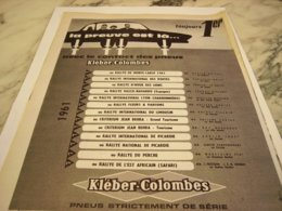 ANCIENNE PUBLICITE TOUJOURS 1ER  KLEBER COLOMBES 1961 - Other