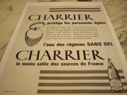ANCIENNE PUBLICITE EAU NATURELLE CHARRIER 1961 - Posters