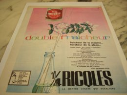 ANCIENNE PUBLICITE DOUBLE FRAICHEUR DE RICQLES  1961 - Posters
