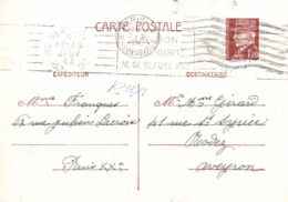 Entier Postal 1F20 1943 De PARIS XXe  à Rodez Flamme Un Bon De Solidarité Ne Se Refuse Pas  RV - Cartes Postales