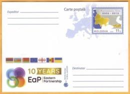 2019 Moldova 10 Years. Eastern Partnership. Georgia, Azerbaijan, Belarus, Armenia, Ukraine. Postcard.Flags. - Moldavie