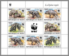 NIGER 2019 MNH Hyaena Hyaena WWF Hyena Hyäne Hyene Overprint SILVER M/S II - OFFICIAL ISSUE - DH1940 - Nuovi