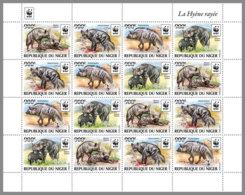 NIGER 2019 MNH Hyaena Hyaena WWF Hyena Hyäne Hyene Overprint SILVER M/S III - OFFICIAL ISSUE - DH1940 - Nuovi