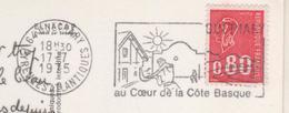 FLAMME GUETHARY 64 PYRENEES ATLANTIQUES 1975 - PELOTE BASQUE, SOLEIL - CARTE BLASON, FRONTON, PLAGE - A VOIR - Francia