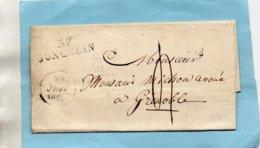 """Linéaire """"37 GONCELIN,40X11mm,L.A.C. Du 21/7/1829. - Marcophilie (Lettres)"""