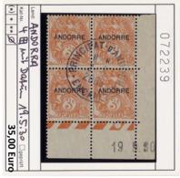 Andorra - Andorre -  Michel 4 Bloc De 4 Avec Coin Daté 19.5.30 - Oo Used Gebruik Oblit. - Andorre Français